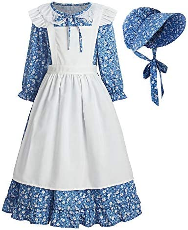 ReliBeauty Pioneer Girl Dress Colonial Prairie Costume Blue 10 12 150 product image