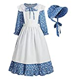 ReliBeauty Pioneer Girl Dress Colonial Prairie Costume Blue, 2T-3T(100)