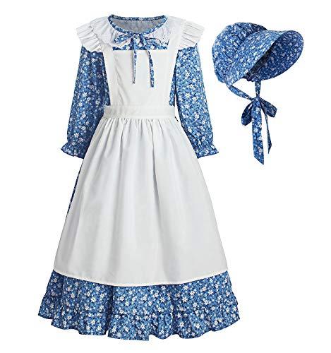 ReliBeauty Pioneer Girl Dress Colonial Prairie Costume Blue, 5(120)