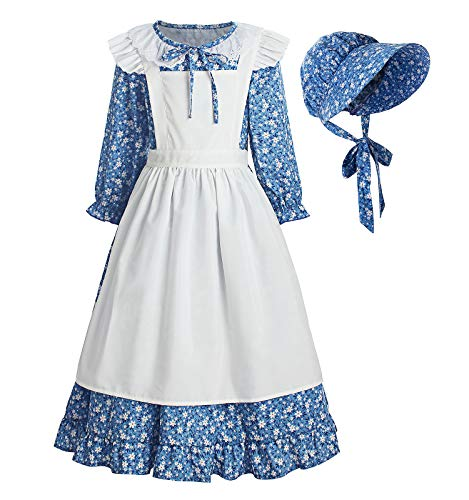 ReliBeauty Pioneer Girl Dress Colonial Prairie Costume Blue - coolthings.us