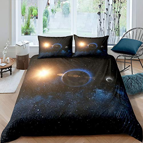 Outer Space Bedding Set Galaxy Comforter Cover for Kids Boys Girls Teens Universe Planet Printed Duvet Cover Starry Sky Milky Way Bedspread Earth Moon Sun Room Decor Quilt Cover Single Size