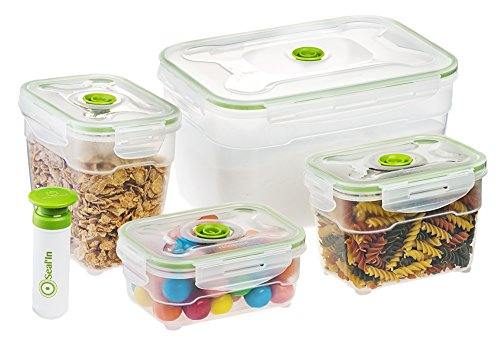 Seal'In Nestable Food Storage Vacuum Containers - Set of 4 - Vacuum...