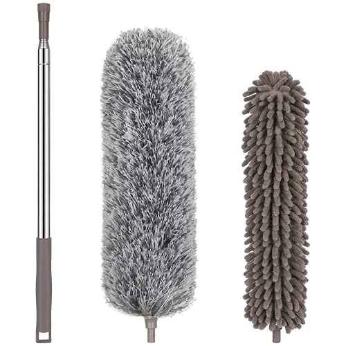 NileHome Microfiber Feather Duster with Extension Pole (30-100 inch) Dusters for Cleaning with Microfiber and Chenille Duster Head Washable Bendable Ceiling Fan Duster for High Ceilings, Furniture