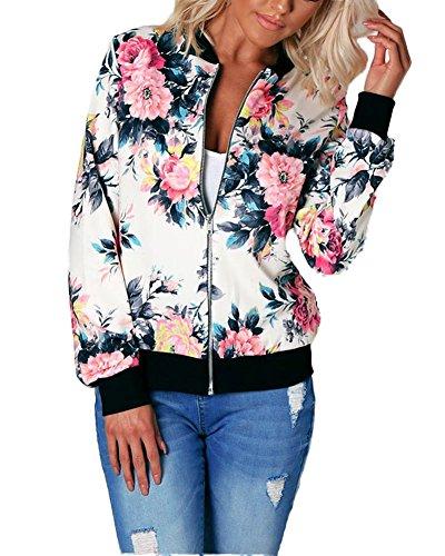 Minetom Damen Reißverschluss Blumen Gedruckt Bomber Jacke Piloten Baseball Mantel Outwear Tops Coat Rot DE 44