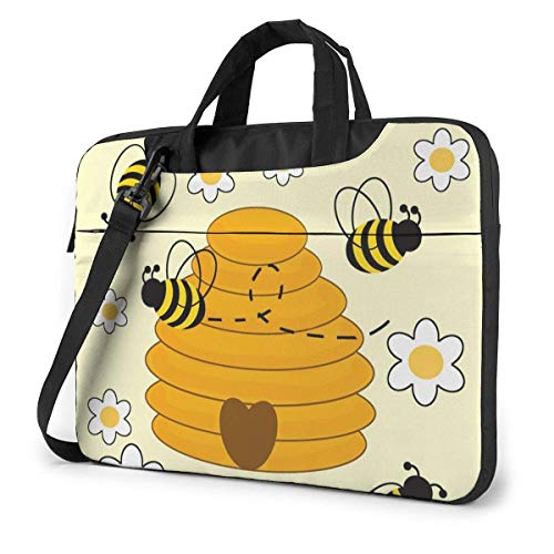 15.6 inch Laptop Shoulder Briefcase Messenger Bumblebee Hive Yellow Tablet Bussiness Carrying Handbag Case Sleeve