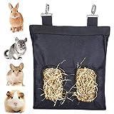 Borsa Per Mangiatoia Per Fieno di Coniglio, Herbivore Sacchetti per Fieno Mangiatoia per Animali Piccola Sacco di Fieno per Animali Domestici per Conigli, Porcellini d'India (Nero)
