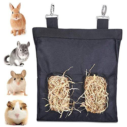 Bolsa Heno, Comedero de Heno de Cuy Comedero de Heno para Mascotas Bolsa de Heno de Conejo Comedero de Heno de Cuy para Conejos, Cobayas, Chinchillas o Animales Pequeños (2 Aberturas, Negro)