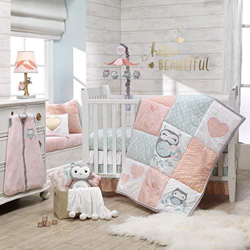 Lambs & Ivy Sweet Owl Dreams Bettwäsche-Set für Babybett, 6-teilig, Rosa