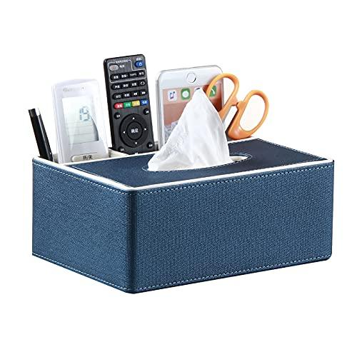 Caja de pañuelos multifuncional, rectangular, soporte para mando a distancia, dispensador de papel de seda facial moderno para encimeras de baño, tocadores de dormitorio, mesitas de noche, escritorios y mesas de oficin