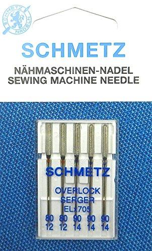 SCHMETZ Surtido de 5 agujas para máquina de coser Overlock Serger (pistón plano) ELx705, grosor 80/12/90/14