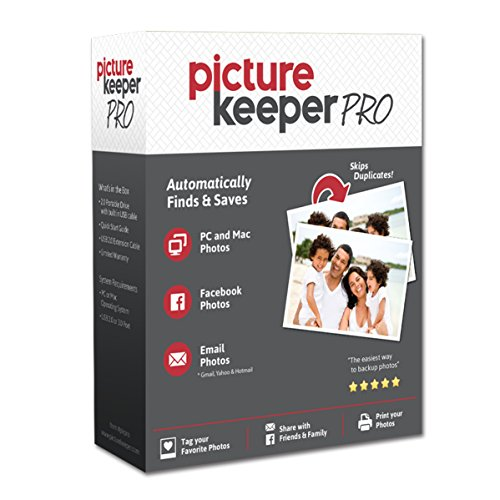 Smart USB Backup Drive 500GB - Picture Keeper PRO External Photo Video and File Backup Device for PC and MAC Laptops and Computers