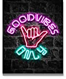 Good Vibes Only Wall Art 11x14 inch Unframed Art Print Poster With Bright Color Neon Style on Black Brick Backgound for Office, Classroom, Man Cave, Woman Cave or Home Decor