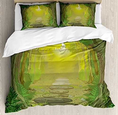 Scott397House Forest Double Bedding Duvet Cover 3 Piece, Pathway with Trees and Ferns Fairytale, Soft Bedding Protects Comforter with 1 Comforter Cover And 2 Pillow Case, Sage Yellow and Fern Green