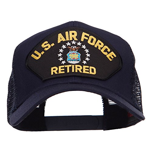 e4Hats.com US Air Force Retired Military Patched Mesh Cap - Navy OSFM