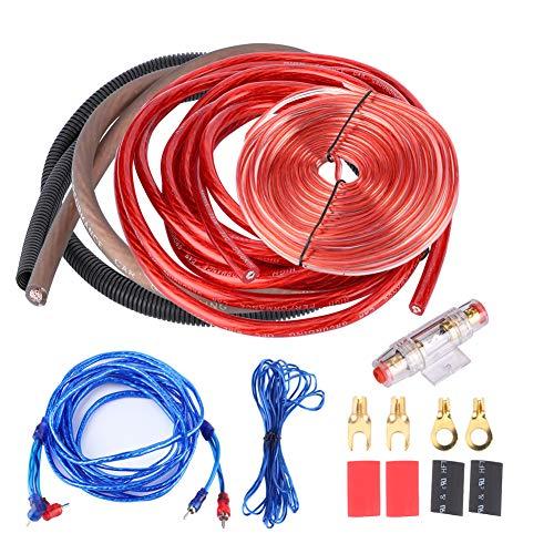 Kit de instalación de amplificador de potencia para automóvil, 4 calibre 2800W Amplificador de subwoofer de audio para automóvil Instalación de altavoz Kit de cable de alambre Traje de fusible