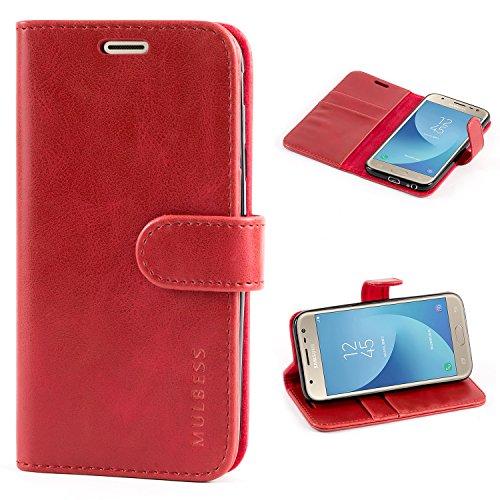 Mulbess Handyhülle für Samsung Galaxy J3 2017 Hülle, Leder Flip Hülle Schutzhülle für Samsung Galaxy J3 2017 Duos Tasche, Wein Rot