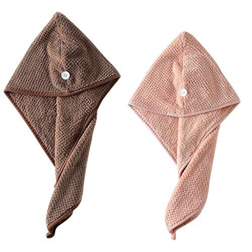 99native 2 Stück Haar Handtuch Wrap Duschhauben, Bequem Hair Schnelltrocknendes, Handtuch Badekappe, Kopfhandtuch Baumwolle, Mikrofaser Haartuch, Super saugfähig,für Bad und Dusche (Brown Pink)