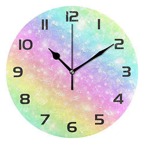 WowPrint Wanduhr, abstraktes Glitzer-Regenbogen-Muster, Acryl, rund, nicht tickend, dekoratives Kunstgemälde für Büro, Klassenzimmer, Zuhause, Schlafzimmer, Wohnzimmer, Badezimmer, Küche, Dekor
