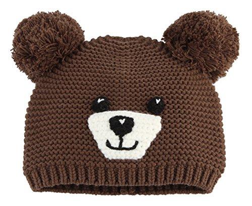 Y-BOA Bonnet Chapeau Tricot Crochet Garçon Fille Enfant Hiver Chaude Mignon Brun Tour De Tête 50-52cm