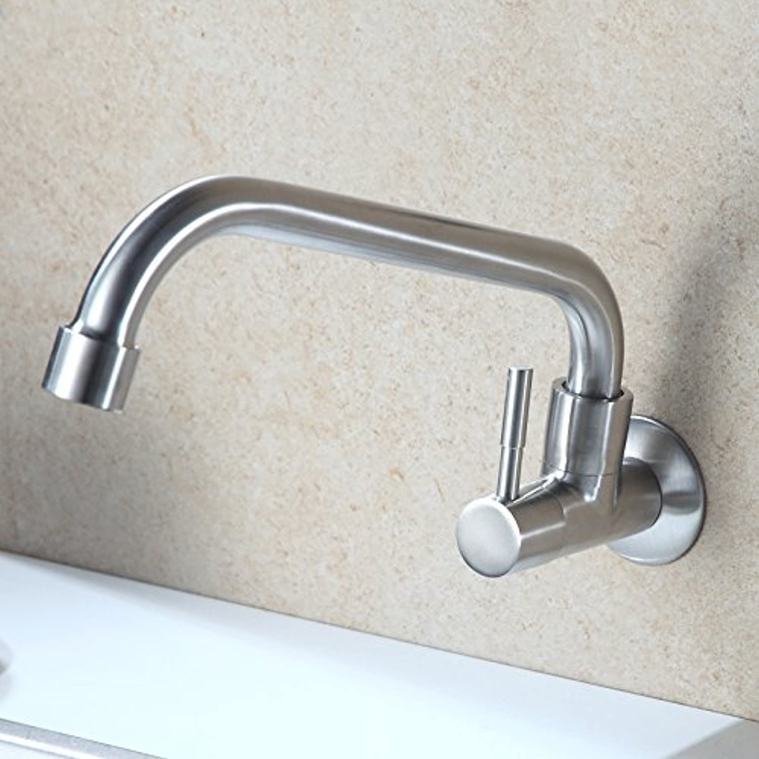 4 Stainless Steel Cold Wall Type Kitchen Sink Tap Seven Word Cross Open Sink Faucet,Fine Drawing