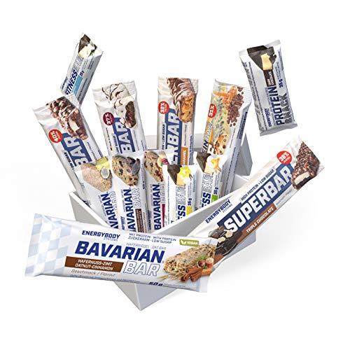 Energybody Riegelbox, Proteinriegel Mix Box mit Eiweißriegel (wenig Zucker), Haferriegel, Ausdauerriegel, Energieriegel, Probierpaket