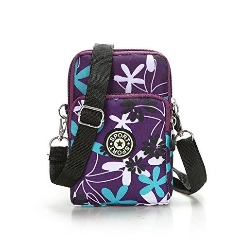 Multifunction Travel Phone Pouch Portable 3 Layers Zipper Closure Waterproof Nylon Wristlet Bag Clutch Handbag Purse Cash Keys Smartphone pouch Holder (Flower)