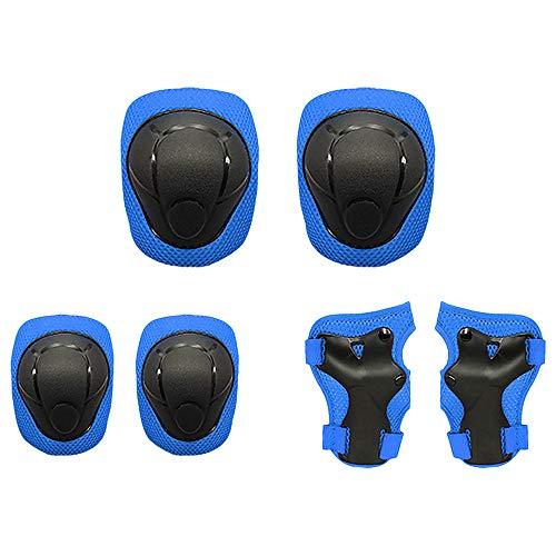 Lixada Kinder Knieschoner Set 6 in 1 Schutzausrüstung Kit mit Handgelenk Wachen Sicherheit Schutz Pads für Skateboard Skating