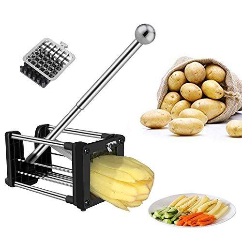 Pommes Frites Schneider, Gemüseschneider, Kartoffelschneider mit 2 verschiedenen Größen Super-Edelstahl-Scharfe Ersatzklingen und Rutschfeste Füße, ideal für Kartoffeln, Karotten, Gurken (Silber)