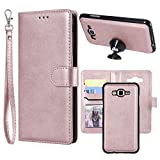 Galaxy J7 2015 Case, Ranyi Detachable Wallet Case [Magnetic Hard Cover Fit Car Mount] Credit Card Holder Slots 2 in 1 Leather Flip Folio Wallet Strap Case for Samsung Galaxy J7 (2015), Rose Gold