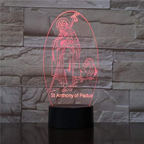 Aoyuhf Jesus 3D LED Night Light 7 kleuren illusie lamp Touch Kids Living Bedroom Desk Lamp