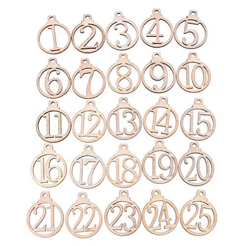 Adventskalender Hölzerne Nummernschilder 1-25 Weihnachts Countdown Adventskalender Zahlen zum Basteln Geschenkanhänger Weihnachtsbaum Anhänger