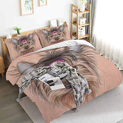 Aishare Store Yorkie Duvet Cover Set,Realistic Computer Drawn Image of Yorkshire Terrier with Cute Ribbon Animal,Decorative 3 Piece Bedding Set with 2 Pillow Shams,Twin(68'x90') Salmon Pale Brown