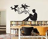 Pegatina pared vinilo dragones rincon de lectura estudios bibliotecas escaparates librerias buhardillas de CHIPYHOME