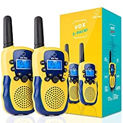 KIDS WALKIE TALKIES OUTDOOR KIT: These easy-to-use indoor / outdoor toys for kids include 2 walkie talkies with backlit LCD screens and built-in LED flashlights; long range walkie talkie set has a 2 mile range EASY VOICE-ACTIVATED TECH: This two way ...