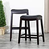 "DTY Indoor Living Frisco Bonded Leather Saddle Stool, 24"" Counter Stool, Espresso Finish, Black Leather Seat"