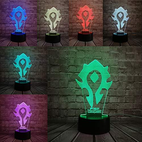 NUEVO JUEGO World of War Game craft Tribal Signs Xmas Night Light 3D LED USB Table Lamp niños regalo de cumpleaños decoración de la habitación junto a la cama