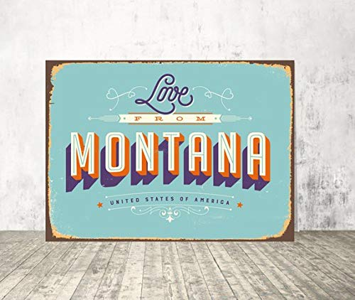 Fhdang Decor Montana Sign, Amour à partir de Montana, USA Art Mural, décoration Murale Montana, imprimé American City, City Sign, Plaque en métal, 20,3 x 30,5 cm