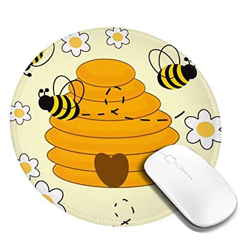 Kleine runde Mauspad 7,9 x 7,9 Zoll Honig Hummel rutschfeste Gummi Desktop Arbeitsmatte Matte Gaming Computer PC Mousepad für zu Hause / Büro