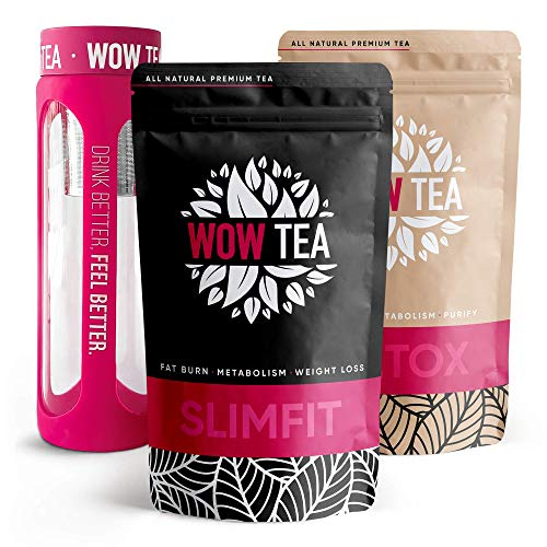 WOW TEA Cleanse Kit: Detox 21 Days Tea | Weight Loss Slimming Tea | Detox and Weight Management Organic Herbal Tea Blend | Infuser Bottle, 300g, Made in EU