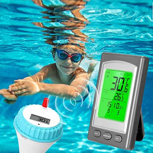 Thermomètre Piscine Connecté, KKmoon® Thermomètre Flottant Thermomètre de Piscine Sans Fil Thermomètre à Eau Compteur d'eau