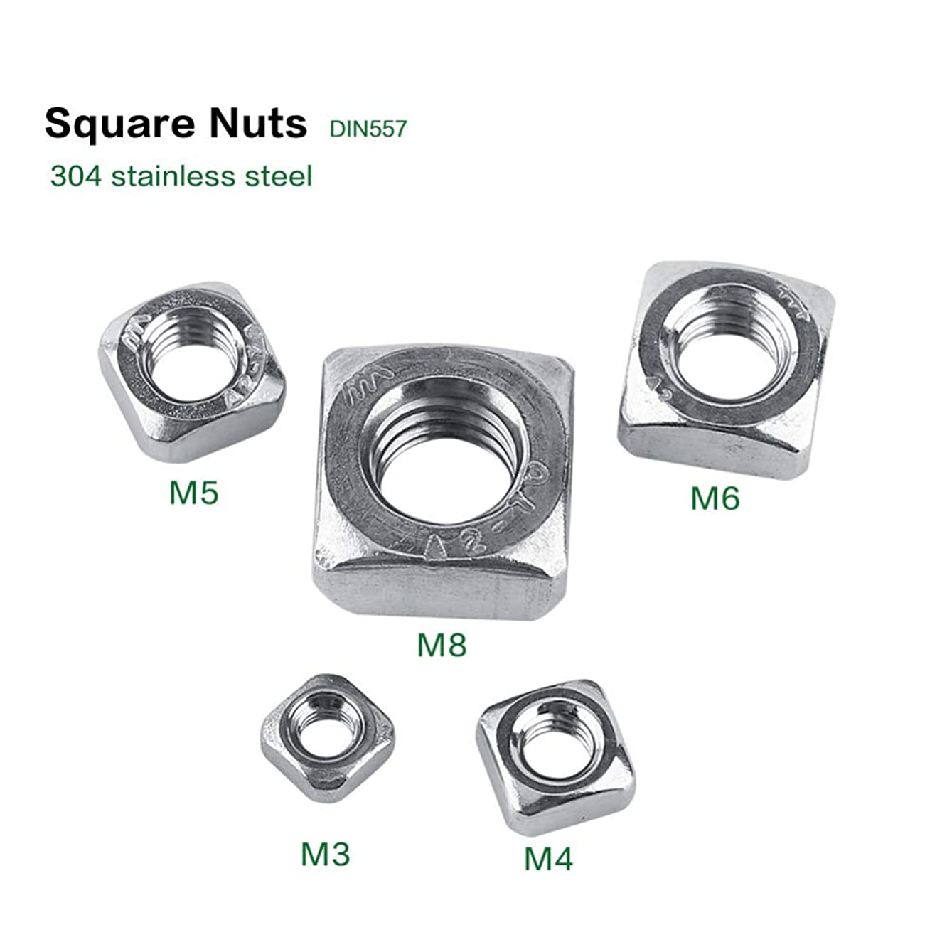 Nuts M3-M8 DIN557 Metric Thread Stainless Steel SS304 Square Nut Fastener Supply Screws Accessory - (Color: M3 100Pcs)
