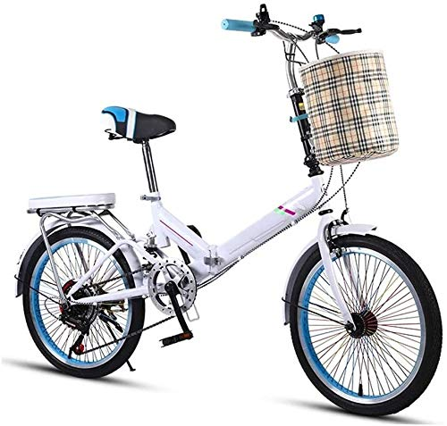 20 Pulgadas Bicicleta Bici Ciudad Plegables Adulto Hombre Mujer, Bicicleta de Montaña Btt MTB Ligero Folding Mountain City Bike Doble Suspension Bicicleta Urbana Portátil, H101ZJ (Color : White)