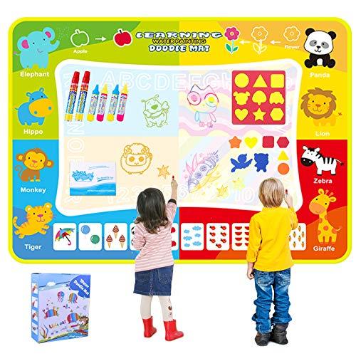 OMEW - Alfombra de dibujo para garaje, alfombra de 120 x 90 cm, agua mágica colorida para niños, pintura de escritura mate, juguetes educativos, ideales para niños y niñas de más de 2 años