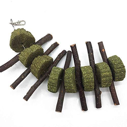 KOBWA Apple Sticks Pet Snacks Kauen Spielzeug, natürliche lustige Gras Behandlung Ball Haustier Katze Essbare Spielzeug Molaren für Kaninchen, Chinchillas, Hamster, Meerschweinchen - 6