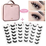 MAGEFY 30 Pairs 5 Styles Fake Eyelashes 3D lashes Handmade False Eyelashes Set, 6 Pairs False Lashes Each Style with Portable Travel Makeup Bag (Pink)