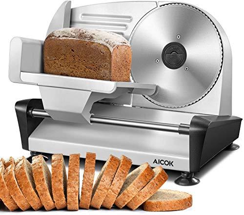 Brotschneidemaschine, AICOK Allesschneider Wurstschneidemaschine Elektrisch mit 19cm Edelstahlklingen, Einstellbare Schnittdicke(0-15mm) für Fleisch/Brot/Obst/Wurst, 150W