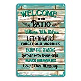 WHATSIGN Funny Home Wall Patio Decor 12'x8' Welcome to Our Patio Sign Wall Decor,Farmhouse Sign Plaque for Home Decor,Funny Patio Wall Art for Indoor,Outdoor,Rustic,Bar,Coffee,Garden Wall Decoration