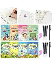 مجموعة كتب التمرين والكتابة السحرية القابلة لاعادة الاستخدام للاطفال للتمرين على الكتابة باليد والخط والحروف، 28 قطعة