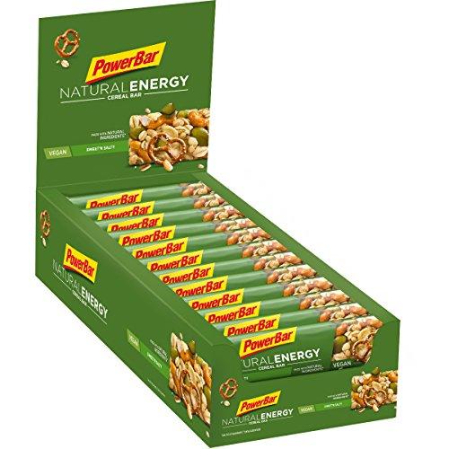 PowerBar Natural Energy Cereal Sweet'n&Salty 24x40g - Barres Énergétiques de Glucides Végétaliens + Magnésium
