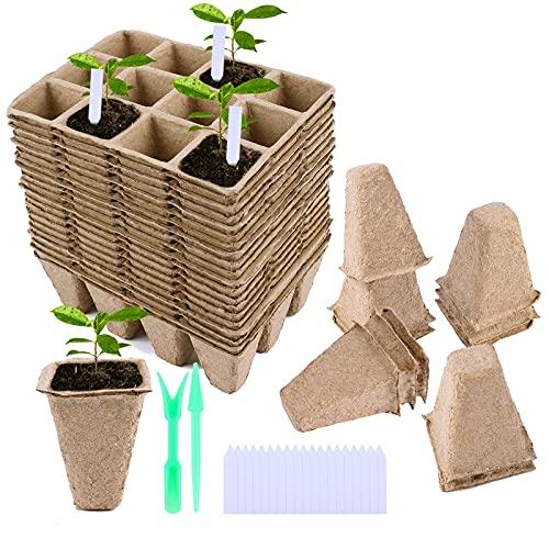 FORMIZON Plantas de Fibra Macetas, 30 Piezas 12 Rejillas Macetas de Fibra, Macetas de Semillas Biodegradables para Plántulas con 2 Piezas Herramientas de Jardinería y 30 Piezas Etiquetas de Planta